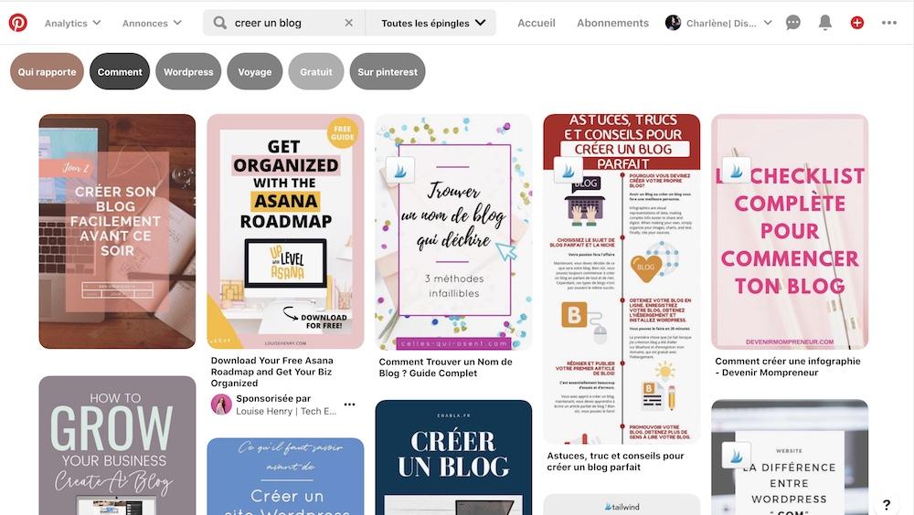 utiliser Pinterest pour trouver des idées d'articles de blog