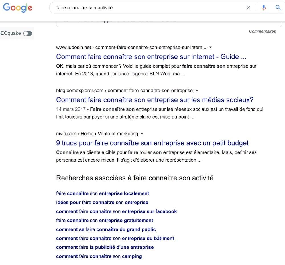 trouver des idées d'articles de blog grâce à Google Suggest